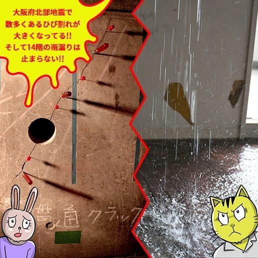 貫通クラック14階雨漏り